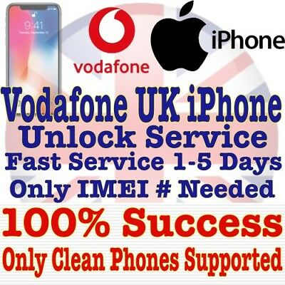 FAST Factory Unlock Service VODAFONE UK iPhone X 8 7 Plus 7 6S 6S+ 6 Plus 5S SE