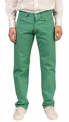 RUBINACCI Napoli Solid Green Cotton Jeans Pants NEW Straight Classic Fit