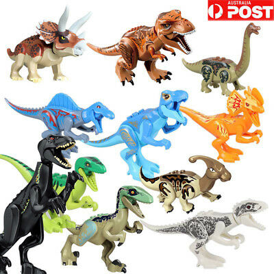 8xJurassic Park World Dinosaur Figure Blocks T-Rex Rex Minifigures Toys Fit Lego
