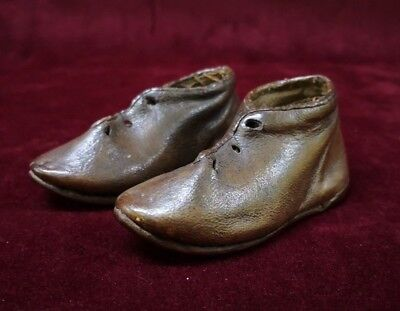 Antique Very Cute Mid 19th Century Brown Leather Baby Child's Shoes