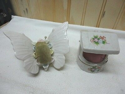 Vintage?? Small Wishing Well & Butterfly Pin Cushions