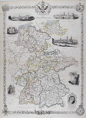 OLD ANTIQUE MAP GERMANY c1850's by TALLIS / RAPKIN HAND COLOUR with VIEWS
