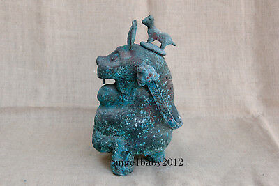 """11"""" Asian Old chinese Warring States antique bronze dog tiliang wine pot"""