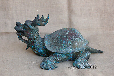 "12"" Asian rare Old China antique bronze Deer horn dragon turtle statue"