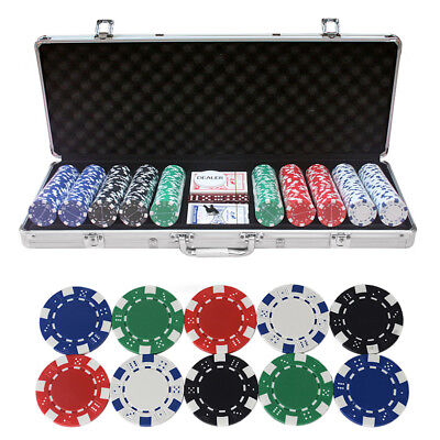 Pokerkoffer Pokerset Poker Set 500 Silber Laser Chips Pokerchips 2 Spieler