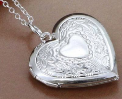 Stunning 925 Sterling Silver Heart LOCKET Photo Charm Pendant Necklace