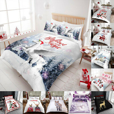 Christmas Duvet Cover Set Single King Size Double Bedding Luxury New