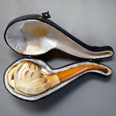 Genuine  Antique Eagle Claw Meerschaum Pipe with Original Case and Label