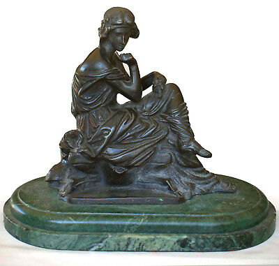 Heavy, Solid Bronze & Marble, Seated NeoClassical Sappho Figure - French Antique