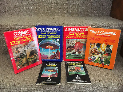 Atari 2600 game boxes Combat, Missile Command, Air Sea Battle, Space Invaders