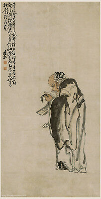 Chinese old scroll painting Old man handing chime stone by Huang Shen in Qing dy