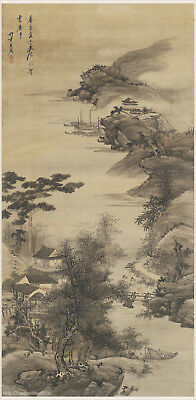 Chinese antique painting Sansui landscape Figure's story To visit old friend