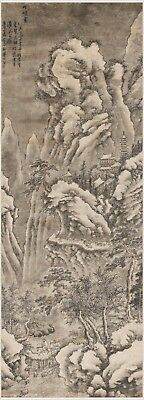 Chinese antique scroll painting Landscape Sansui Travelers amid winter mountains