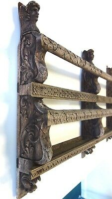 Antique Large Weathered Wooden Hand Carved Church Hymnal Shelf Angels Christian