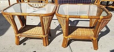 Set 2 Vtg Mid Cent Modern Bamboo Rattan Wicker Bentwood Glass End Side Tables