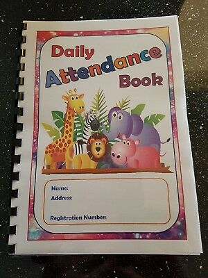attendance book childcare setting perfect for childminder nursery playgroup zoo