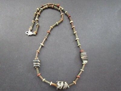 NILE  Ancient Egyptian Mosaic Amulet Mummy Bead Necklace ca 600 BC