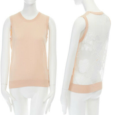 CHLOE peach wool knit white floral embroidered silk sheer back sleeveless top M