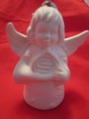 1982 Goebel White Bisque Angel Bell Ornament