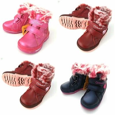 Baby Girls Winter Warm Shoes Waterproof Ankle Fur Lined Boots Size UK 4 - 7.5