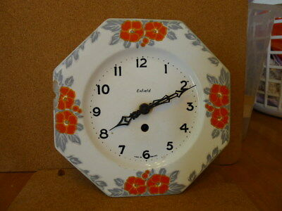 Early Enfield Wall Plate Floral Clock..With Key & Working..1930s..Art De... GC..