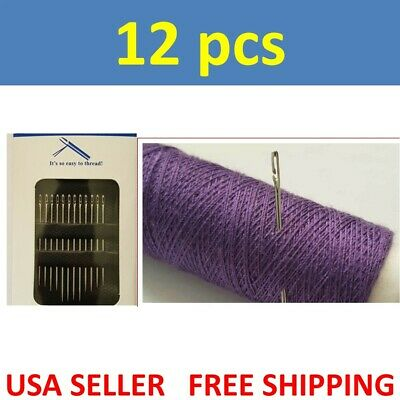 12PCs Thick Big Eye Sewing Self-Threading Needles Embroidery Hand Sewing LSM