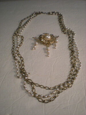Vintage Faux Pearl Goldtone Chain Necklace and Pin Lot