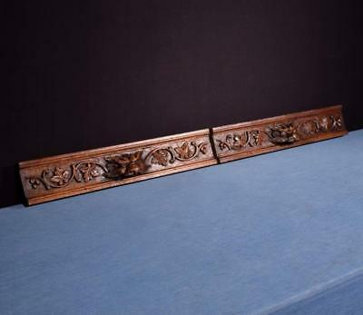 *French Antique Carved Architectural Drawer Fronts/Panels in Oak w/Faces