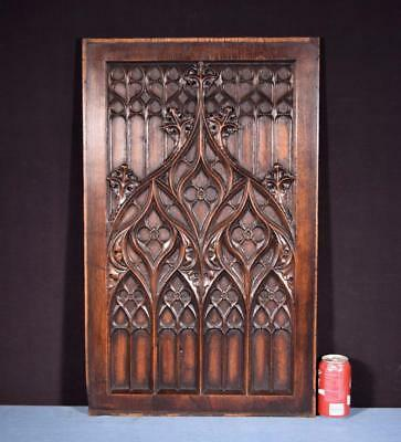 *Large French Antique Gothic Revival Panel/Plaque in Solid Oak Wood