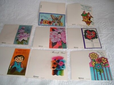 Vtg 60s Lot 13 Retro Hippie Unused All Occasion Greeting Cards Boxed RARE #bd1