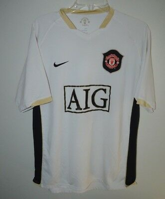 online retailer 3a00a 48000 RARE VINTAGE NIKE Manchester United AIG Football Soccer Jersey Men L White