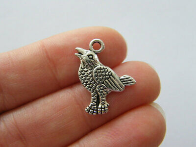 2pcs 27x12mm Viking Animal Crow Raven Head Charms Antique Silver Tone Jewelry