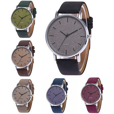 Luxury Women Men Simple Quartz Analog Watch Leather Band Wrist Watches Gifts YEH