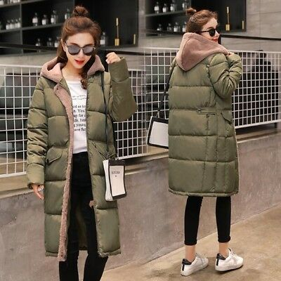2019 Womens Hooded Down Cotton Padded Jackets Loose Winter Warm Overcoats Zipper