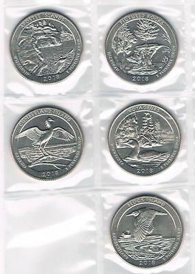 2018 S Atb National Park Quarter Collection - All 5 Coins - Uncirculated