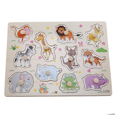 Zoo Animal Elephant Tiger Monkey Early Development Wooden Puzzle Jigsaw Toy one