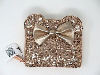 Disney Parks Loungefly Rose Gold Sequined Minnie Mouse Ears Wallet Clutch Bow