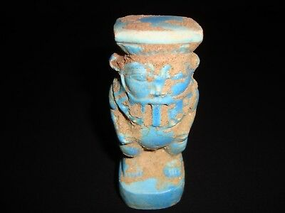 Rare Antique Ancient Egyptian FAIENCE BES Amulet New Kingdom 1549–1069 BC