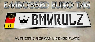 BMW German Eagle Euro European License Plate Embossed - BMWRULZ -  GERMANY