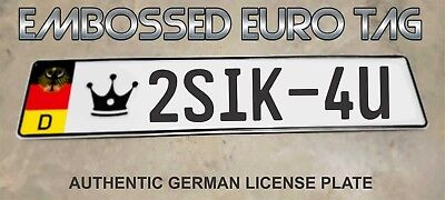 BMW German Eagle Euro European License Plate Embossed -   2SIK-4U   -  GERMANY