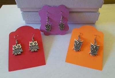 Lovely Little Antique Silver Owl Dangle Hook Earrings - 3 Pairs to choose from