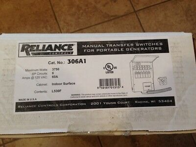 New Reliance Controls 306A1 Pro Tran 2 Indoor Transfer Switch (30A-120V)