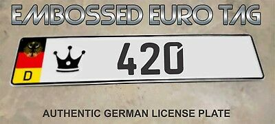 BMW German Eagle Euro European License Plate Embossed - 420  -  GERMANY