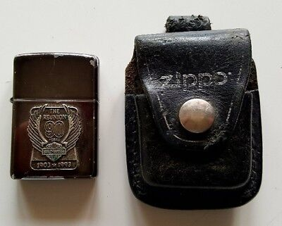 ZIPPO Briquet COLLECTOR The Reunion 90 Years HARLEY DAVIDSON 1903 1993 Etui  CUIR 1da0f1aa65e