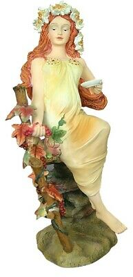 Autumn Maiden Holding Holding Grape Vine Four Seasons Statue by Mucha 8.25H
