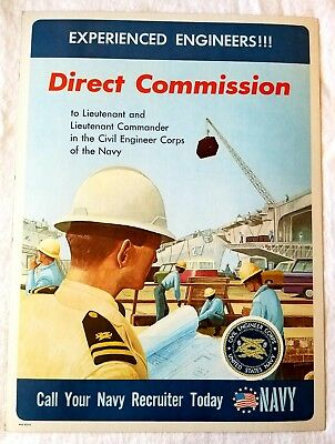 Vintage Original 1967 US Navy Recruiting Office Poster Civil Engineer Corps Sign