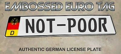 BMW German Eagle Euro European License Plate Embossed - NOT-POOR -  GERMANY