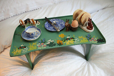 A Delightful Vintage Breakfast in Bed Tray, Jade Green with Floral Decoration