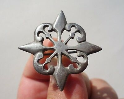 ancient Roman openwork silver brooch 'fibula' in shape of axe and spear heads