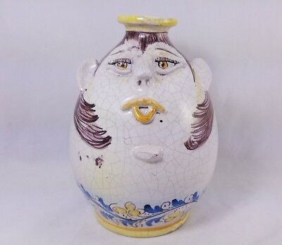 Antique Boria Signed Caltagirone Face Pot Jug Redware Pottery Hand Thrown Paintd